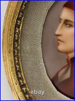 Antique Kpm Style Porcelain Portrait Dante Alighieri Plaque Handpainted Plate