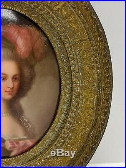Antique Kpm Style Porcelain Portrait Lady Plaque Brass Framed Handpainted
