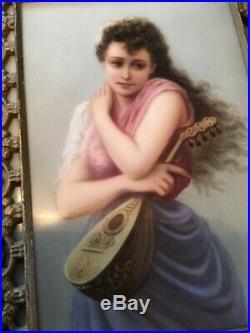 Antique Kpm Style Porcelain Portrait Lady Plaque Framed Marked 107 Handpainted