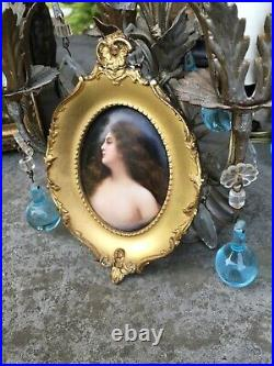 Antique Kpm Wagner Hand Painted Porcelain Plaque Partially Nude Lady Erbluh