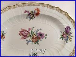 Antique Large Kpm Berlin Porcelain Oval Platter Hand Painted Flowers Gilt Gold