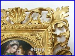 Antique Madonna & Jesus Oil Painting On Porcelain Plaque Florentine Frame KPM or
