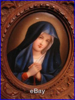 Antique Madonna Porcelain Plaque KPM Style Wood Frame Marked
