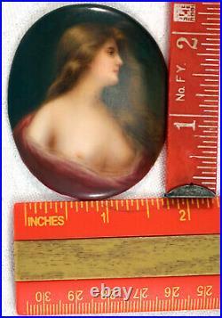 Antique Miniature Painting Porcelain Portrait Plaque Semi Nude Lady KPM style