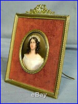 Antique Miniature Portrait Painting Porcelain Bronze French Picture Frame as KPM