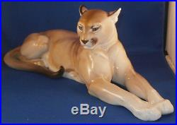 Antique Nymphenburg Porcelain Mountain Lion Puma Figurine Porzellan Figur Figure