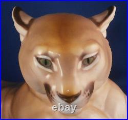 Antique Nymphenburg Porcelain Mountain Lion Puma Figurine Porzellan Figur Figure