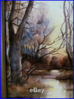 Antique Oil On Porcelain Landscape Painting Of Birches & Stream Kpm Style