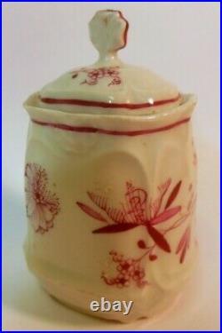 Antique PINK ONION Porcelain Spice Condiment MUSTARD Jar KPM Meissen Pattern