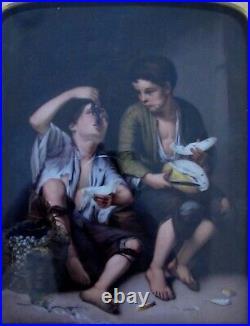 Antique Painted Porcelain Plaque Signed KPM German Boys eating Melon Fruit