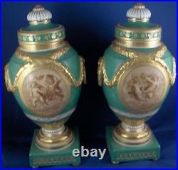 Antique Pair KPM Berlin Porcelain Sepia Scene Scenic Urn Vase Porzellan Vasen