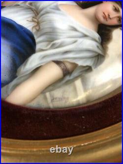 Antique Pair Of Hand Painted KPM Style Porcelain Plaques