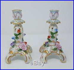 Antique Pair of KPM Porcelain Candlesticks Beautifully Detailed & Colored Roses