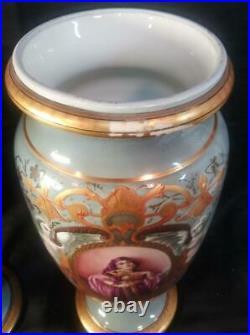 Antique Pair of Two 2 Porcelain Woman Portrait Vases Old Paris KPM Royal Vienna
