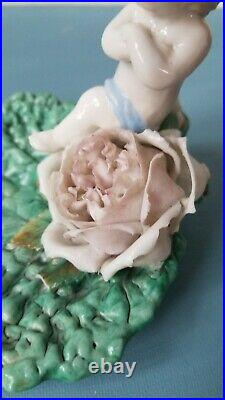 Antique Porcelain Cherub Figurine KPM Pin Tray Berlin Germany Majolica Leaf