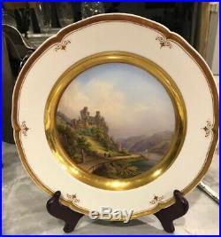 Antique Porcelain KPM Berlin Beautiful Cabinet Plate C. 1860 Rheinstein