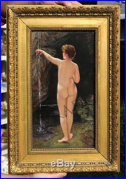 Antique Porcelain KPM Berlin plaque Nouveau Nude bather girl waterfall gilt fram