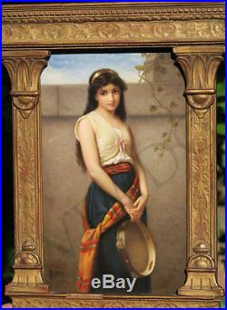 Antique Porcelain KPM Berlin plaque Nouveau girl tambourine gilt wood frame