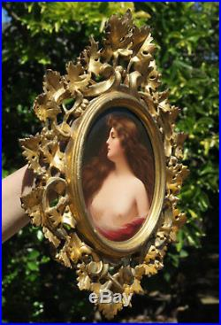 Antique Porcelain KPM Berlin plaque ROCOCO carved Wood frame Nude Portrait Asti