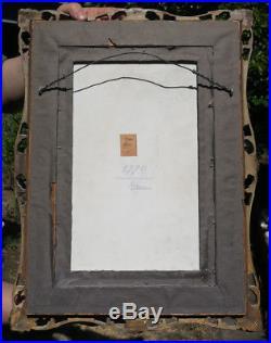 Antique Porcelain KPM Berlin plaque giltwood carved frame Portrait To Be Good