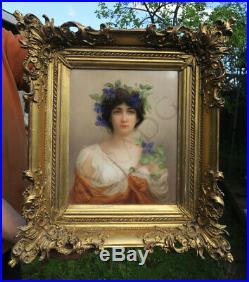 Antique Porcelain KPM Berlin plaque giltwood frame Portrait Clematis flower Sign