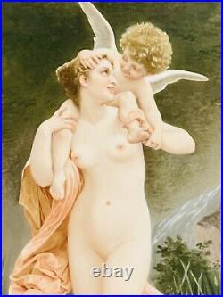 Antique Porcelain KPM Plaque Of Psyche With Cupid. 19c