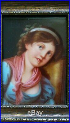 Antique Porcelain Painting Hand Painted Plaque Girl Signed Werlich KPM Quality