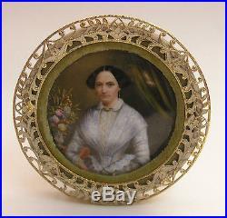 Antique Porcelain Painting Kpm Quality Portrait of a Lady c 1860 Ornate Frame