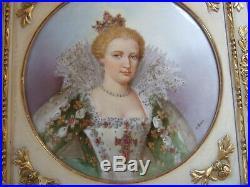 Antique Porcelain Plaque Framed Portrait Signed Fabulous Limoges KPM 12