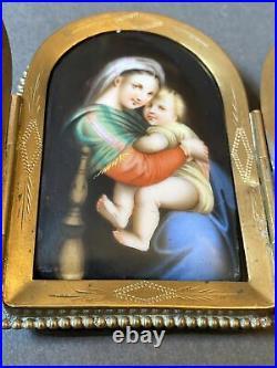 Antique Porcelain Plaque Hand Painted KPM/Austrian/German, Madonna & Child C19th