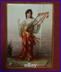 Antique Porcelain Plaque Kpm Gypsy Maiden & Lyre Orientalist Style German