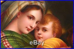 Antique Porcelain Plaque Painting Hand Painted Madonna Della Sedia KPM Style