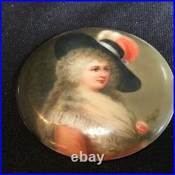 Antique Porcelain Plaque Signed Wagner Portrait Miniature Duchess Devonshire KPM