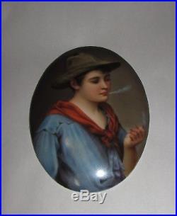Antique Porcelain Portrait Plaque Poss. KPM Young Man Smoking Tobacco