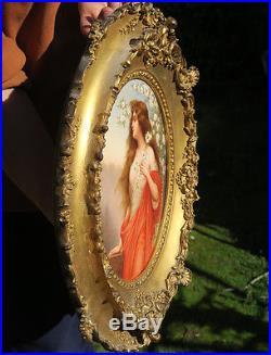Antique Porcelain Wagner Berlin plaque giltwood carved frame Asti blossoms KPM