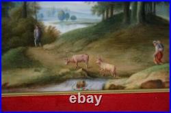 Antique Porcelain plaque KPM Berlin, Idyllic landscape, circa 1840