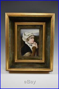 Antique Portrait Porcelain Plaque KPM Style Of Young LadyBEAUTIFUL