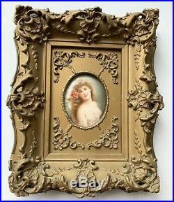 Antique Portrait Signed Wagner Painted Porcelain Hutschenreuther Woman Lady KPM