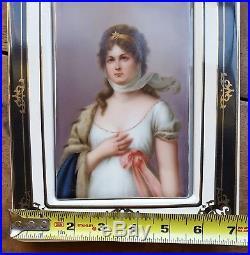 Antique Queen Louise German Painted Porcelain Plaque Louisa of Prussia KPM grade