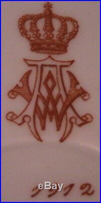Antique Royal 1912 KPM Berlin Porcelain Plate Monogram Porzellan Teller King
