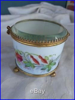 Antique Signed French Hand Painted Snap Dragons Floral Porcelain Dresser Box