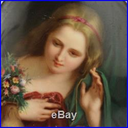 Antique Signed Hand Painted KPM Berlin Porcelain Plaque with Girl At Window PC