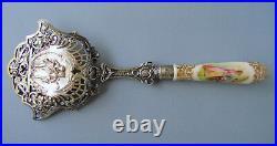 Antique Silver 800 Figural Serving Spoon KPM Porcelain Portrait & Handle c. 1880