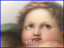 Antique Sistine Madonna CHERUB ANGEL KPM PORCELAIN Plaque Hand Painted GERMAN
