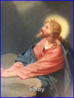 Antique T&V Limoges France Painted Porcelain Plaque 1918 Jesus Signed KPM Style