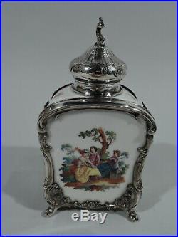 Antique Tea Caddy Rococo German Porcelain Sterling Silver KPM Georg Roth