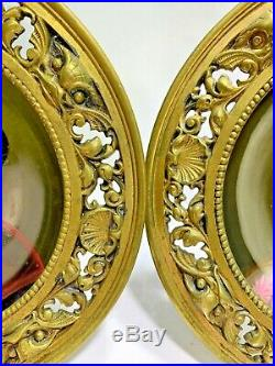 Antique Two KPM Hand Painted Porcelain Plates Brother & Sister Brass Frames