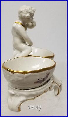 Antique VIntage Porcelain Cherub Figural Double Salt Berlin KPM