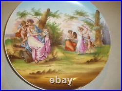 Antique Victoria Austria Kaufmann Signed Porcelain Cupid Cabinet Wall Plaque Kpm