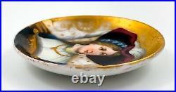 Antique Victorian KPM porcelain plaque portrait miniature pin dish lady feather